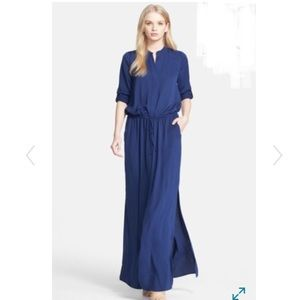 Vince Navy Long Sleeve Maxi Dress Size Large